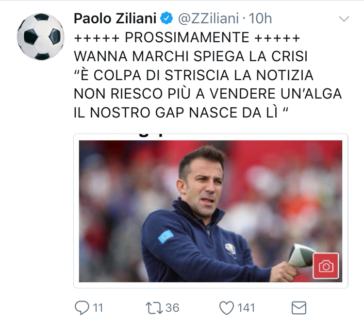 Ziliani insulta del piero come se la figlia di riina for Ziliani twitter