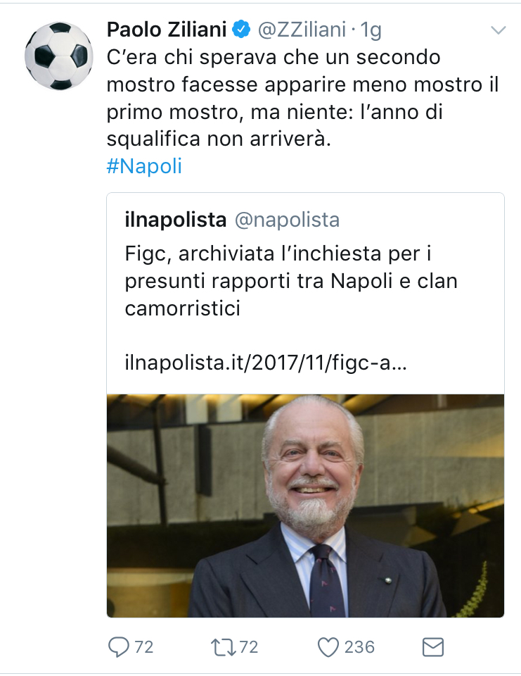 Ziliani contro agnelli la camorra de laurentiis for Ziliani twitter